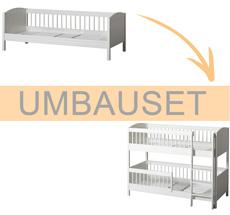 Oliver Furniture Umbauset Seaside Lille+ Juniorbett zum halbhohen Etagenbett Weiß