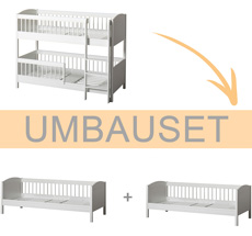 Oliver Furniture Umbauset Seaside Lille+ halbhohes Etagenbett zu 2 Juniorbetten Weiß