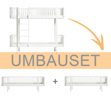 Oliver Furniture Umbauset Wood Etagenbett zu 2 Bettsofas Weiß