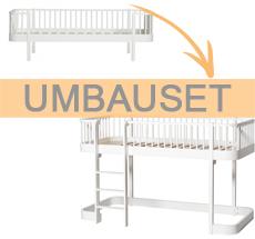 Oliver Furniture Umbauset Wood Bettsofa zum halbhohen Hochbett Weiß