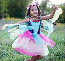 Kostüm Blütenfee mit Flügeln grün/pink