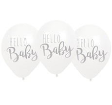 "JaBaDaBaDo Luftballon ""Hello Baby"" Weiß 6er-Set"