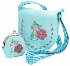 Djeco Bestickte Tasche & Geldbeutel mit Kätzchen 2er-Set