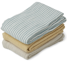 LIEWOOD Mulltuch Line Sea Blue Stripe Mix 3er-Set