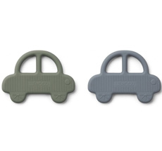 LIEWOOD Beißring Geo Car Faune Green/Blue Wave 2er-Set