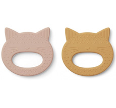 LIEWOOD Beißring Geo Cat Rose/Yellow Mellow 2er-Set