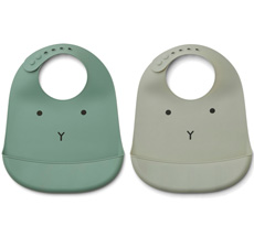LIEWOOD Lätzchen Tilda Silikon Rabbit Mint Mix 2er-Set