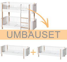 Oliver Furniture Umbauset Wood Mini+ halbhohes Etagenbett zu 2 Juniorbetten Weiß/Eiche