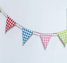 Win Green Wimpelkette Multicoloured Gingham