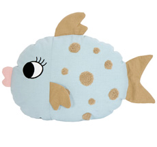 Roommate Kissen Fish Light Blue Bio-Baumwolle
