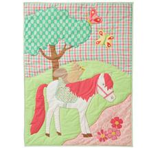 Room Seven Quilt Horse & Tree Blau Bestickt 90 x 125