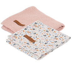 Little Dutch Swaddle Tuch 70x70 Pure Pink /Spring Flowers 2er-Set