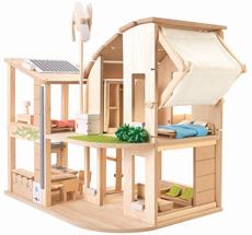 PlanToys Puppenhaus Öko möbliert •