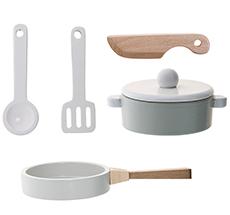 Bloomingville Küchen-Spielset Nature/White/Grey 5er-Set