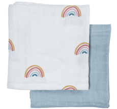 Fabelab Tuch Muslin Rainbow 2er-Set Bio-Baumwolle