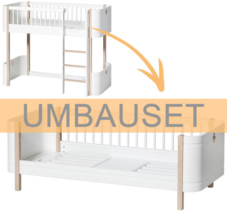 Oliver Furniture Umbauset Wood Mini+ halbhohes Hochbett zum Juniorbett Weiß/Eiche