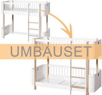 Oliver Furniture Umbauset Wood Mini+ halbhohes Hochbett zum halbhohen Etagenbett Weiß/Eiche