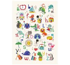 Petit Monkey Poster ABC Apfel Zebra