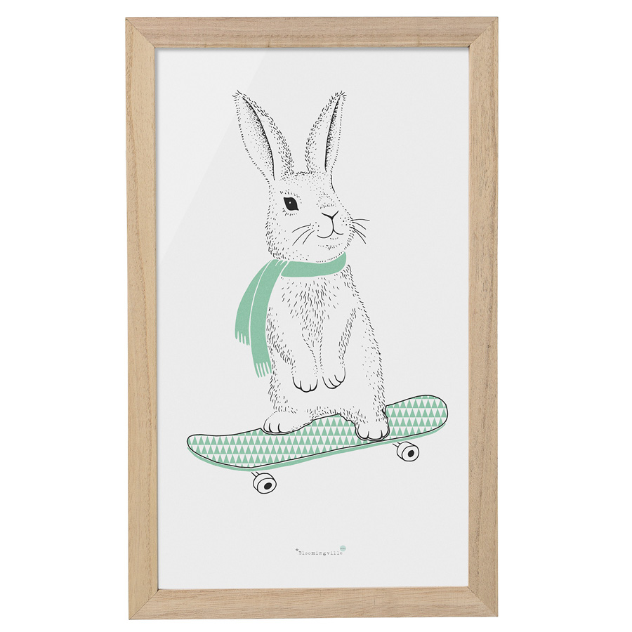 bloomingville bilderrahmen rabbit on skateboard nature. Black Bedroom Furniture Sets. Home Design Ideas
