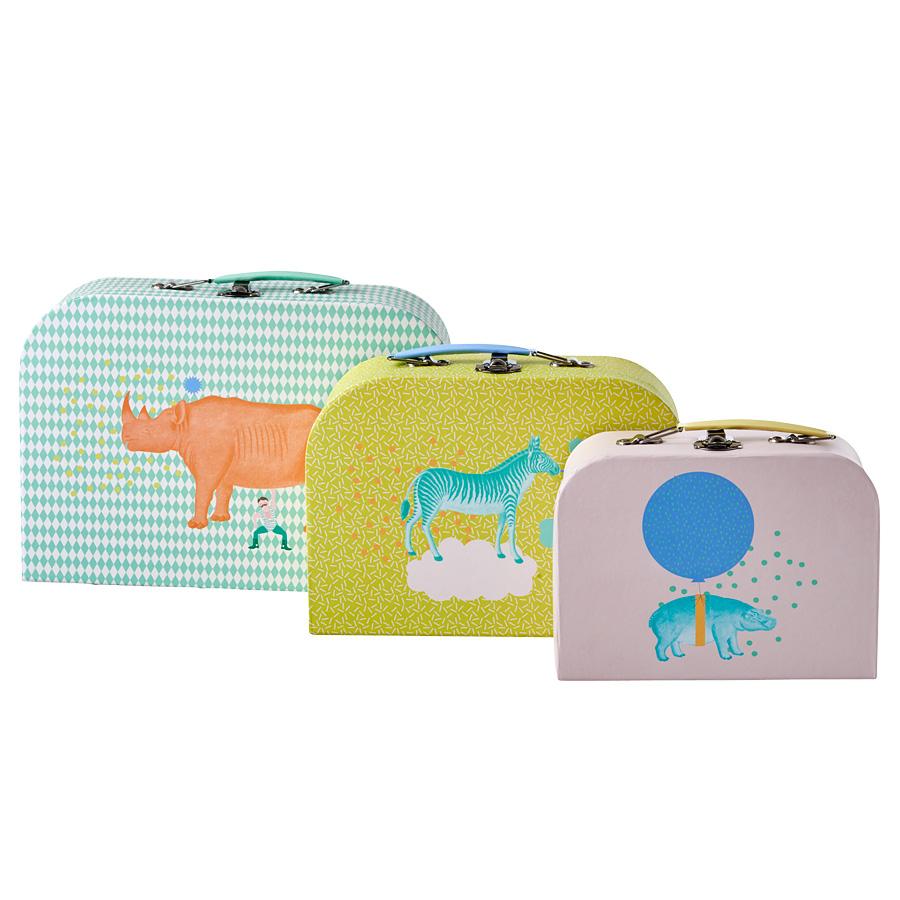 Rice spielkoffer animal print 3er set online kaufen emil paula kids - Balkonmobel 3er set ...
