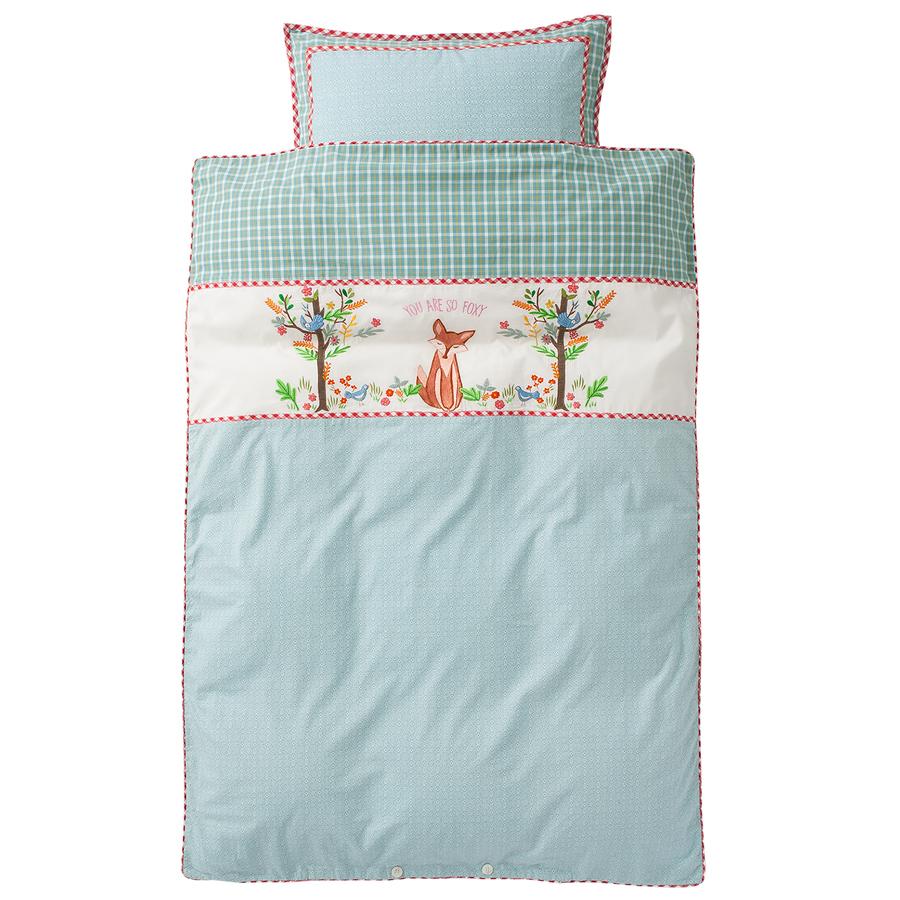 room seven bettw sche fox in wood t rkis bestickt online kaufen emil paula kids. Black Bedroom Furniture Sets. Home Design Ideas
