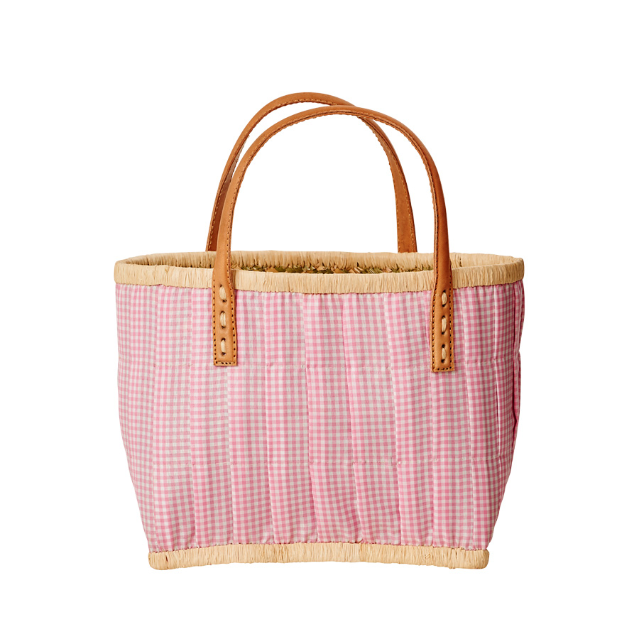 rice kinder einkaufskorb mit ledergriffen pink vichy online kaufen emil paula kids. Black Bedroom Furniture Sets. Home Design Ideas
