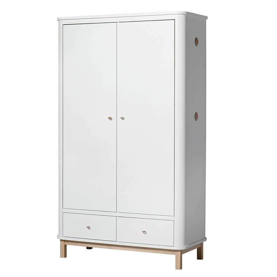 Oliver furniture wood kleiderschrank 2 t rig wei eiche for Schrank quillt auf