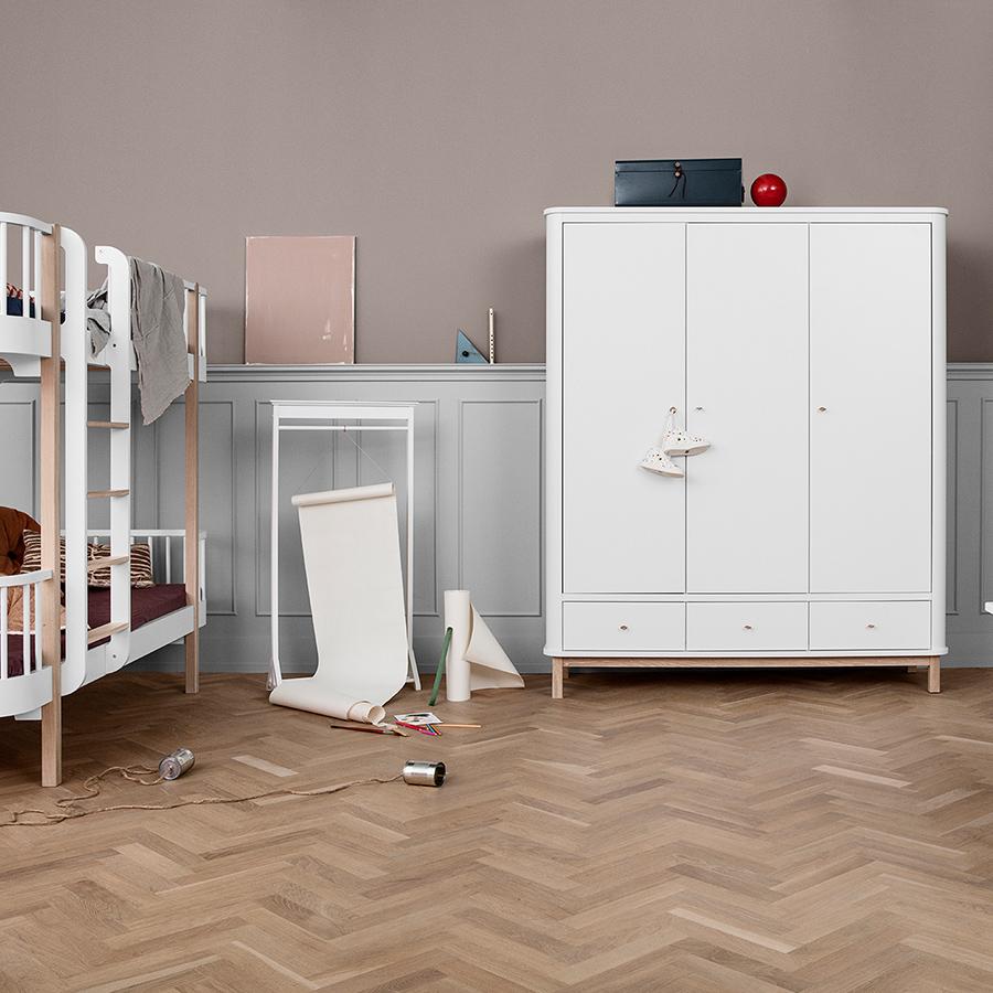 oliver furniture wood kleiderschrank 3 t rig wei eiche. Black Bedroom Furniture Sets. Home Design Ideas