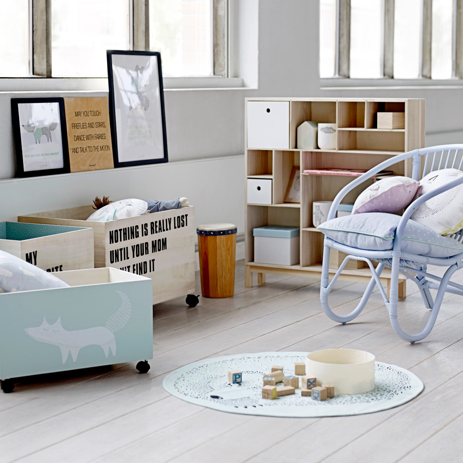 bloomingville aufbewahrungskiste mit rollen fox online kaufen emil paula kids. Black Bedroom Furniture Sets. Home Design Ideas