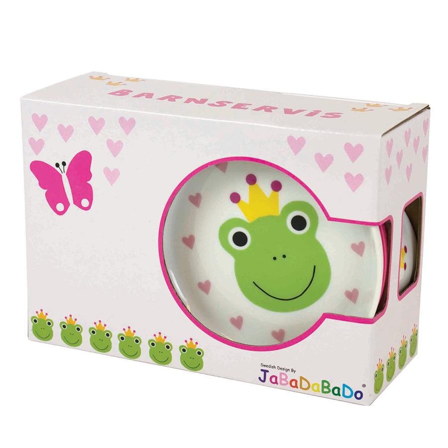 jabadabado porzellan kindergeschirr set frosch 3 teilig. Black Bedroom Furniture Sets. Home Design Ideas