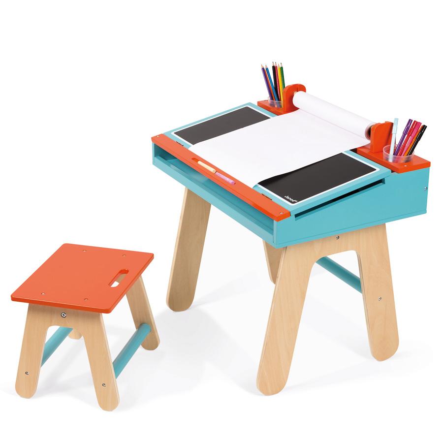 Janod schreibtisch kombination holz blau orange online kaufen emil paula kids for Bureau janod