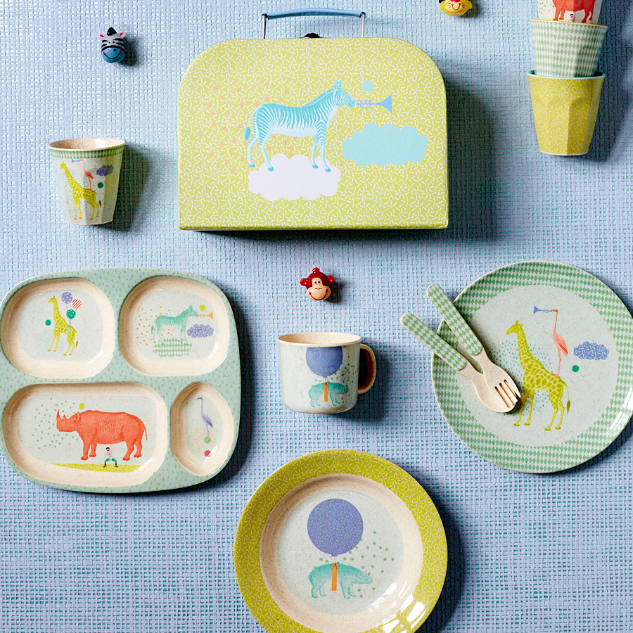 rice melamin teller boys animal bambus online kaufen emil paula kids. Black Bedroom Furniture Sets. Home Design Ideas