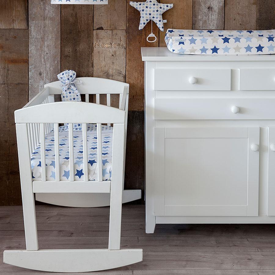 little dutch spannbetttuch wiege mixed stars blue 40x80 online kaufen emil paula kids. Black Bedroom Furniture Sets. Home Design Ideas