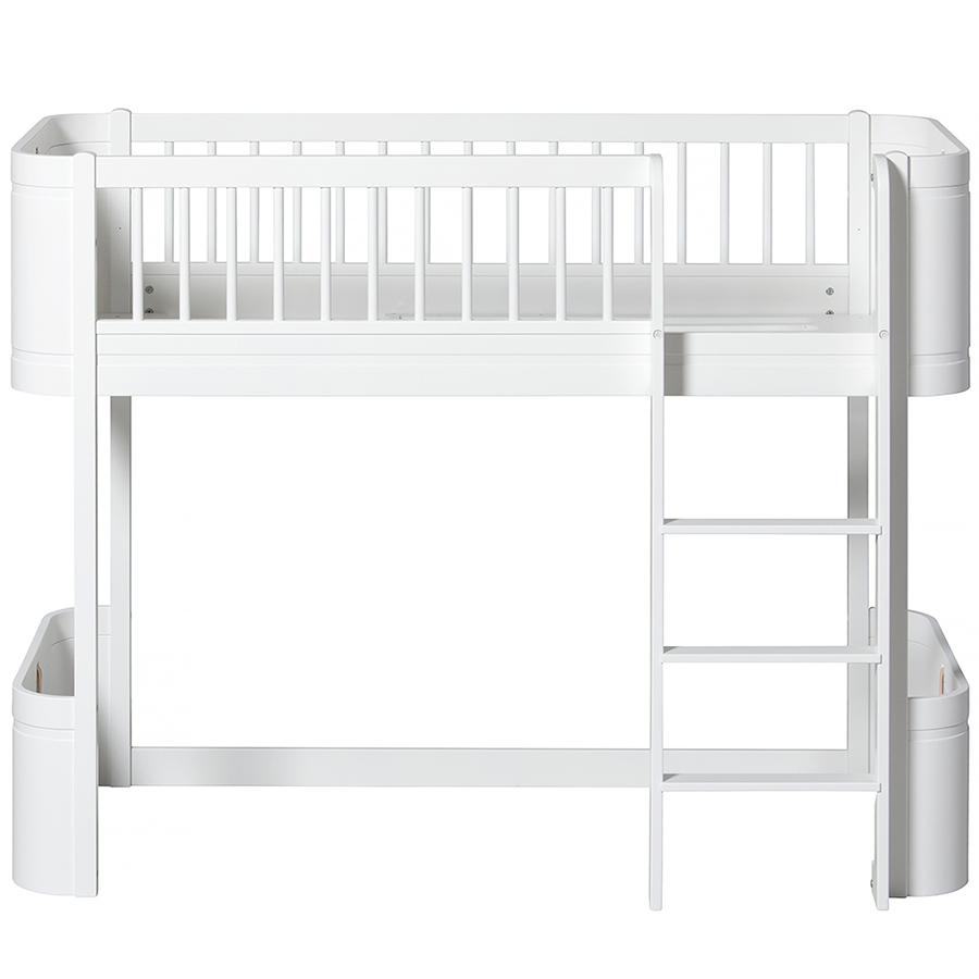 oliver furniture halbhohes hochbett wood mini wei online. Black Bedroom Furniture Sets. Home Design Ideas