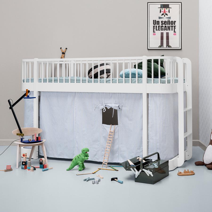oliver furniture halbhohes hochbett wood wei online kaufen emil paula kids. Black Bedroom Furniture Sets. Home Design Ideas